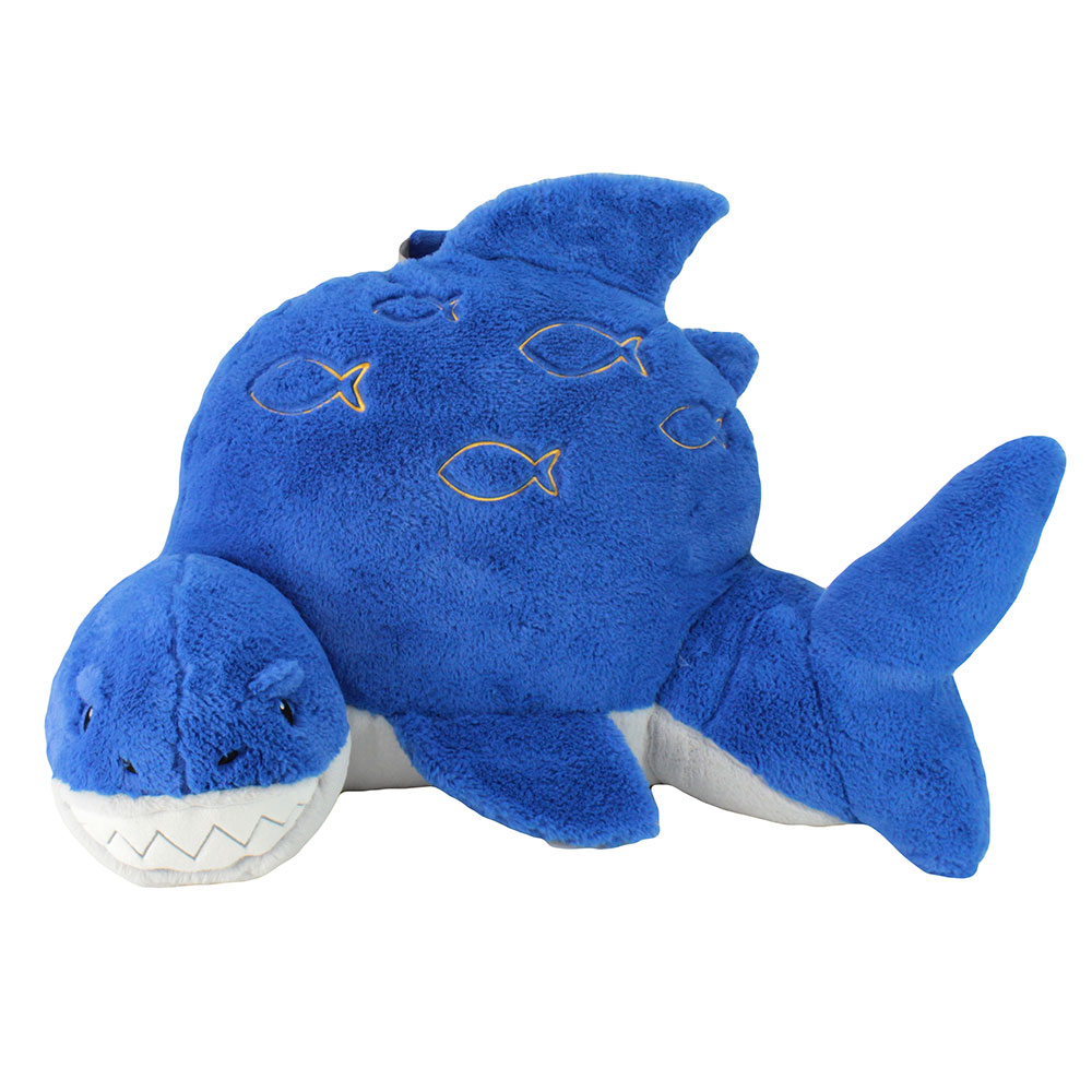 Front view of shark nesting nook cushion
