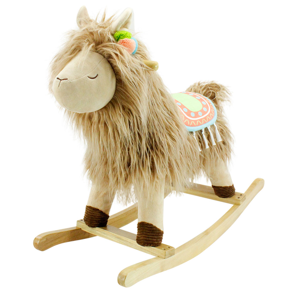 Side angle view of llama joyride rocker with wooden base
